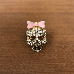 Betsey Johnson Crystal Skull Ring with pink bow